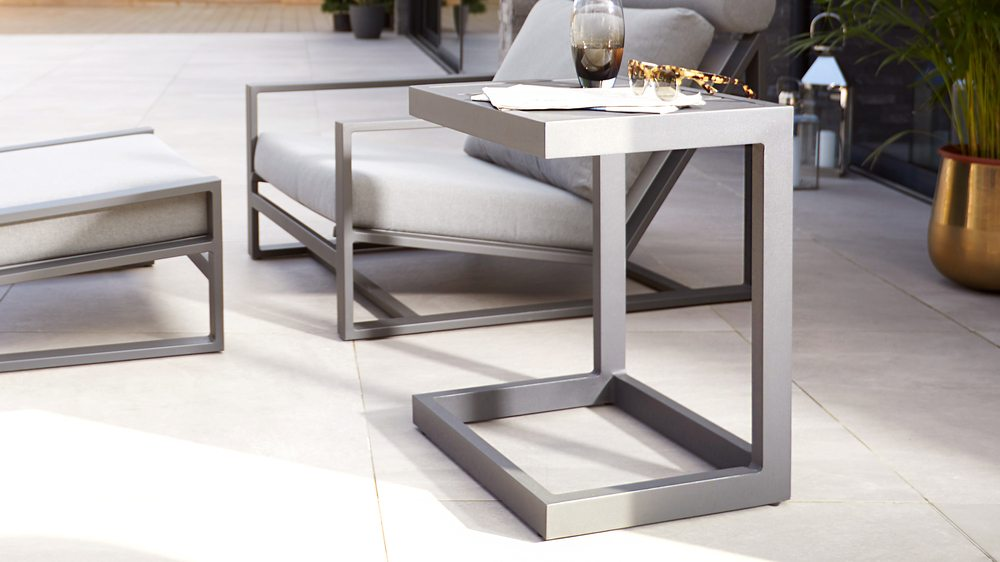 Grey side tables for garden