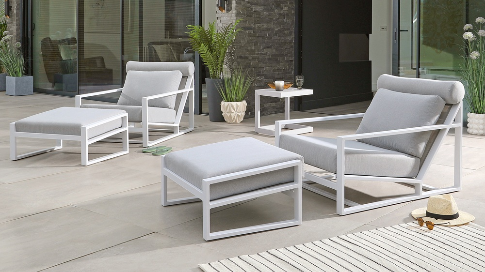 outdoor lounger and footstool