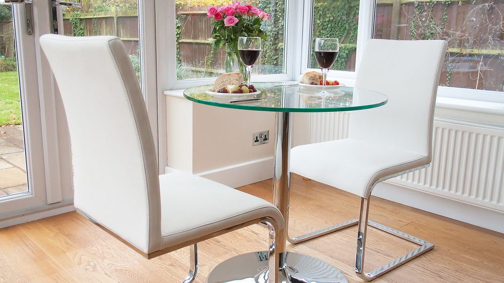 Modern White Faux Leather Swing Dining Chairs