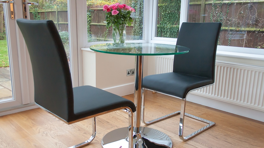 Black Leather and Chrome Cantilever Dining Chairs