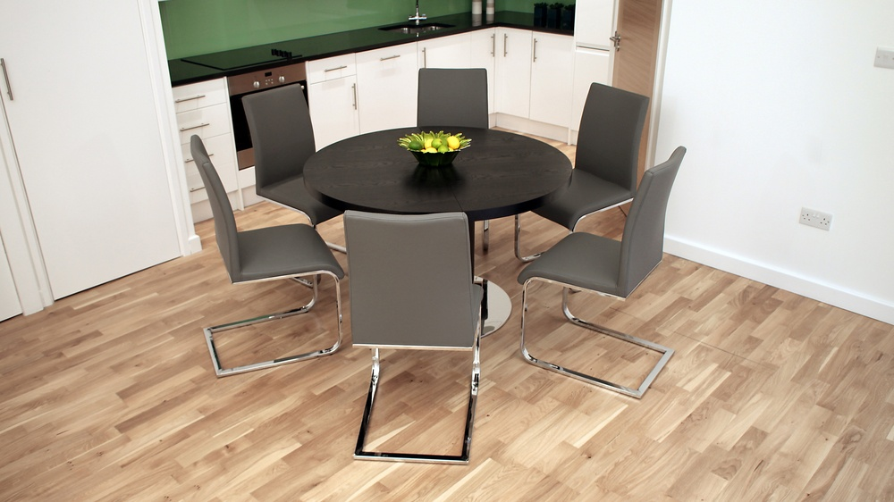 Grey Leather and Chrome Swing Dining Chairs