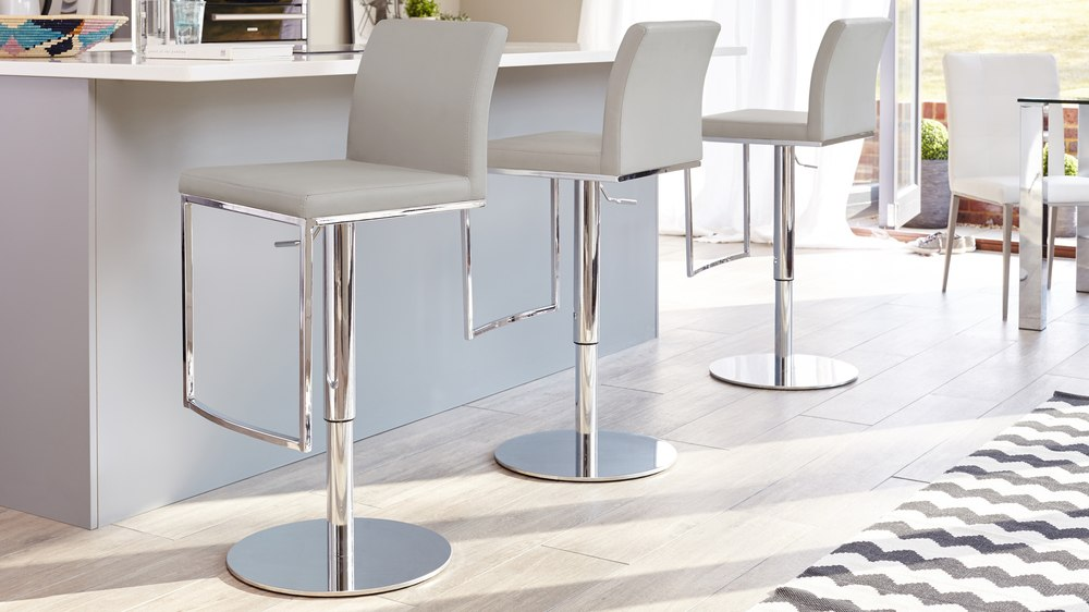 Light Grey Gas Lift Barstools