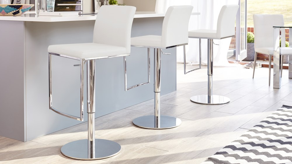 White Bar Stool that Adjusts Height