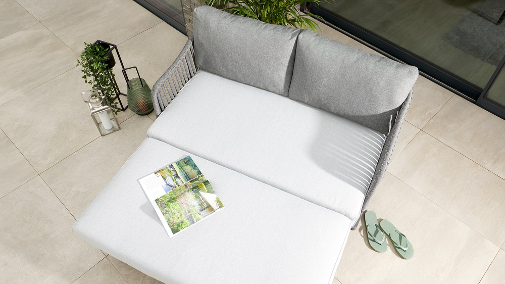 2 seater garden sofa with woven rope back