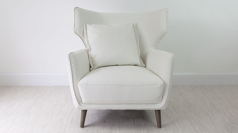 White Leather Occasional Arm Chair