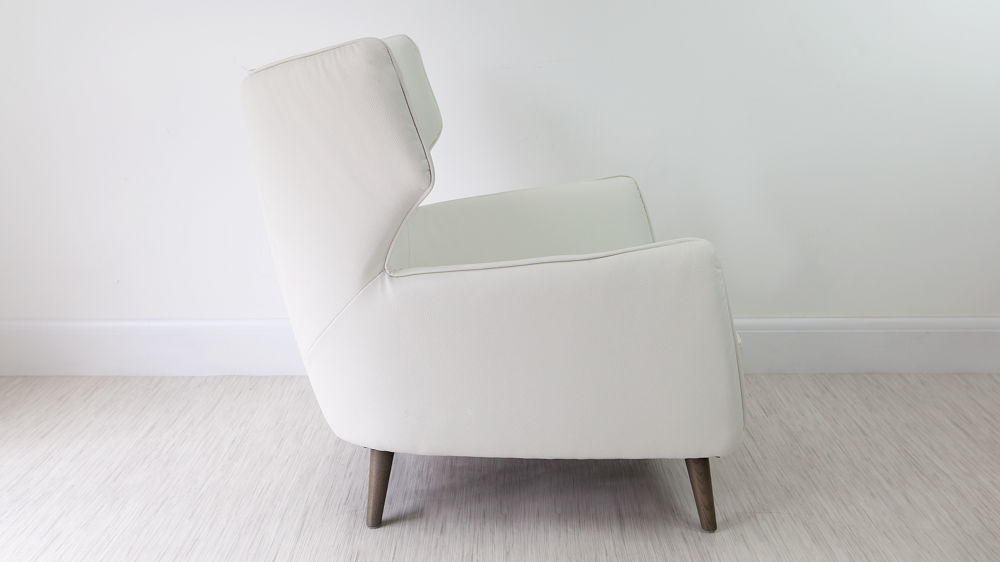 Large White Leather Arm Chairs
