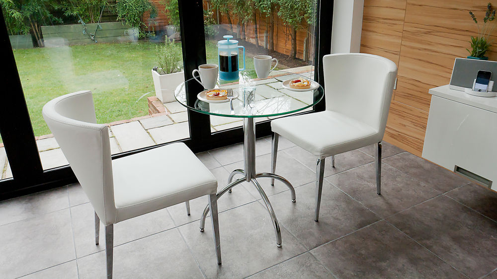 Modern glass kitchen dining set for 2 black white brown beige chairs - Small two person dining table ...