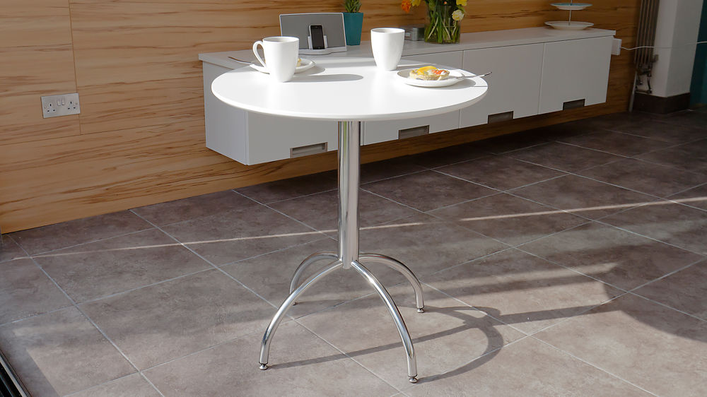 White Satin Kitchen Dining Set Round Table 2 Modern