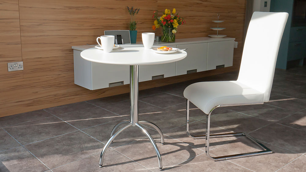 Small Round White Dining Table and Swing Chair
