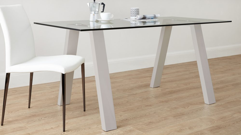 6 Seater Strong Grey Gloss Family Table