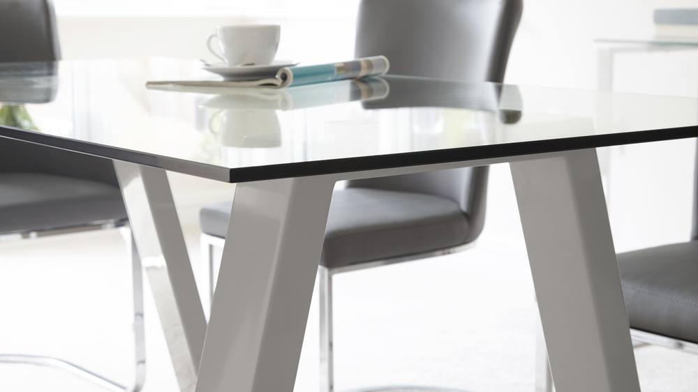 Grey Gloss Modern 6 Seater Table