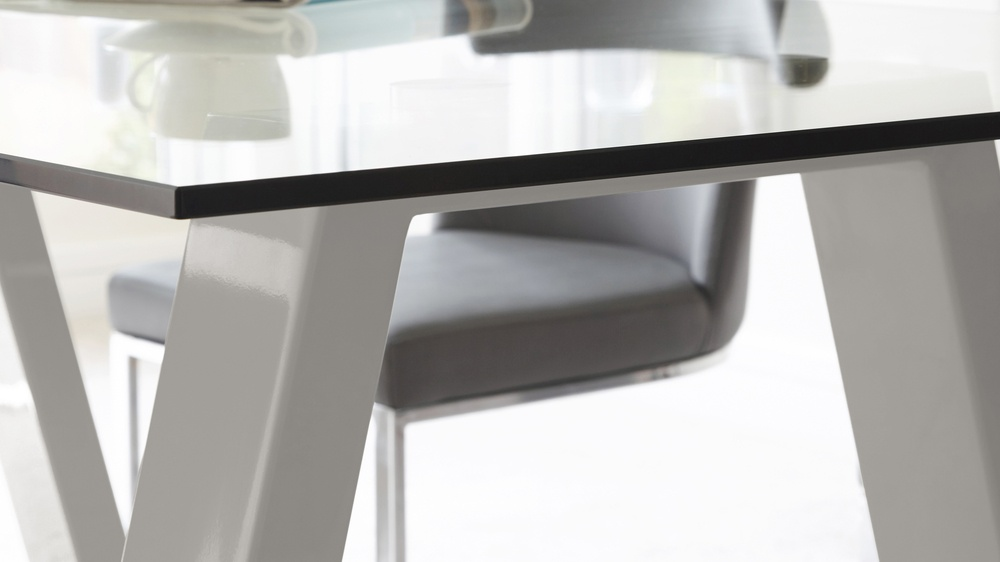 Durable Glass Table Grey Slim Legs