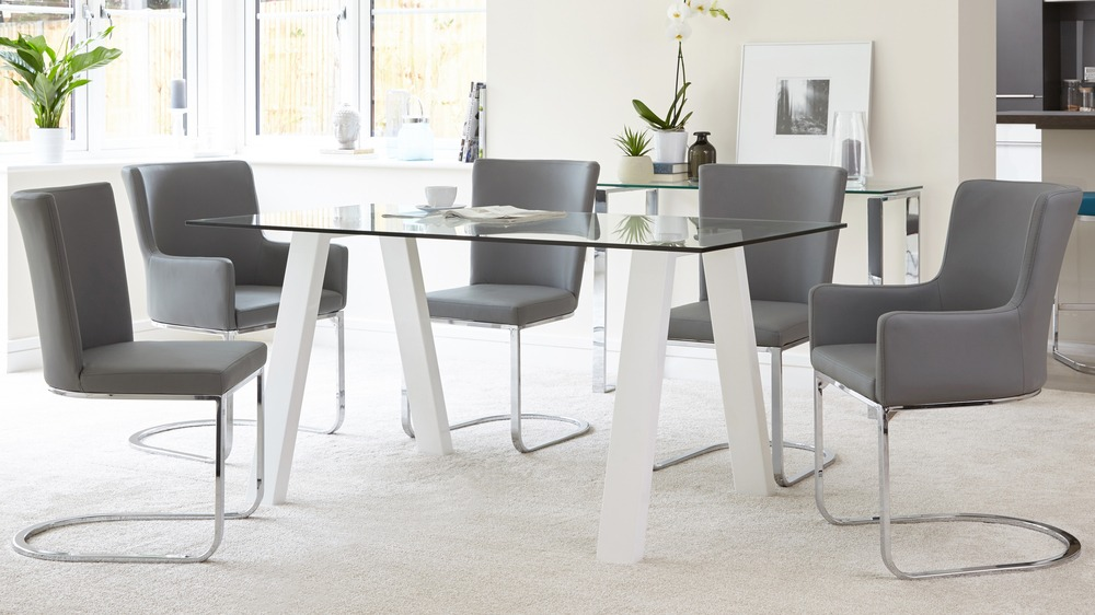 6 seater glass and white gloss dining table julia kendell for 6 seater dining table