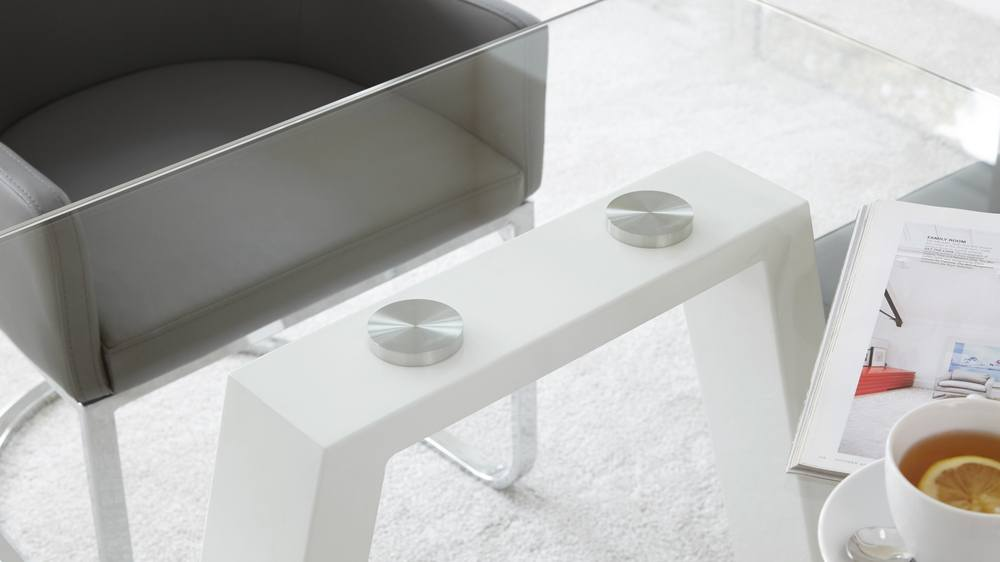White Glass and Gloss Modern Table 6 Seater