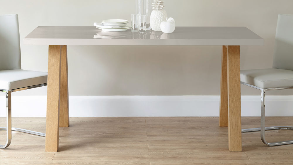 Contemporary 6 Seater Grey Gloss And Oak Dining Table Uk