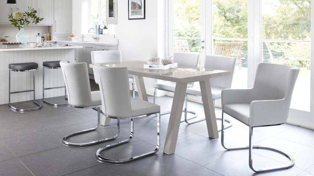 6 Seater Grey Gloss Designer Dining Set
