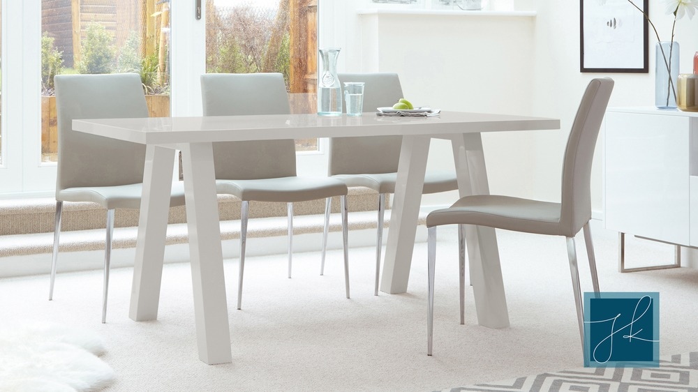 Contemporary 6 Seater Grey Gloss Dining Table Uk
