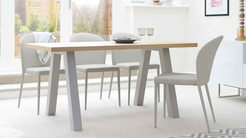 matt grey and oak 6 seater dining table Exclusively Danetti with Julia Kendell range