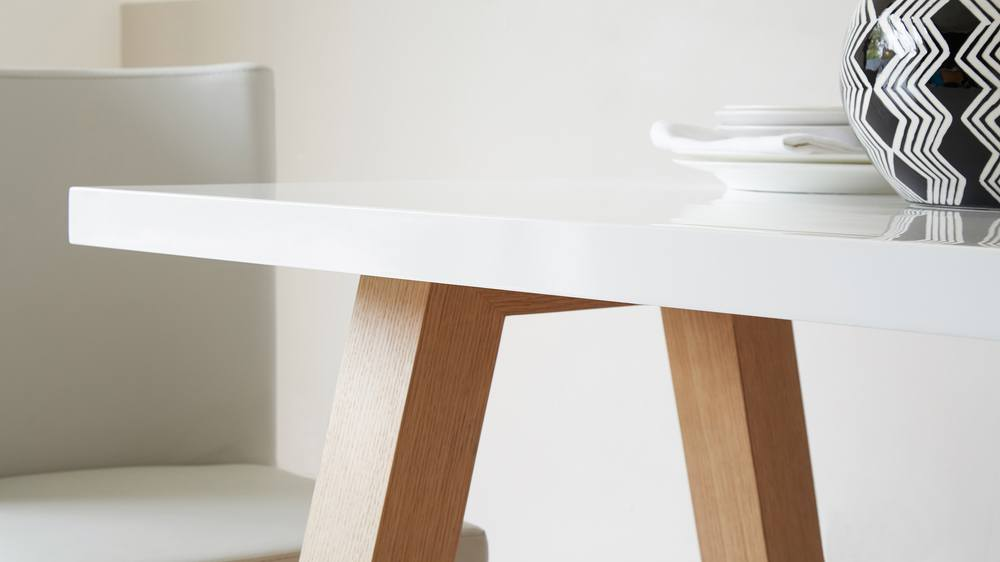 White Oak Table ~ Modern seater white gloss and oak dining table uk