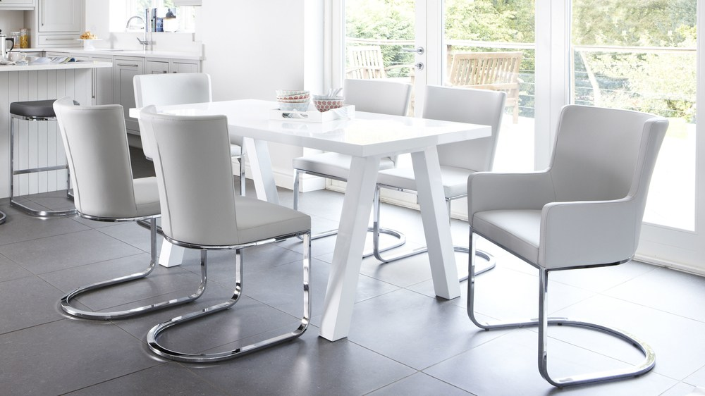 Home Tables Dining Tables Zen 6 Seater White Gloss Dining Table