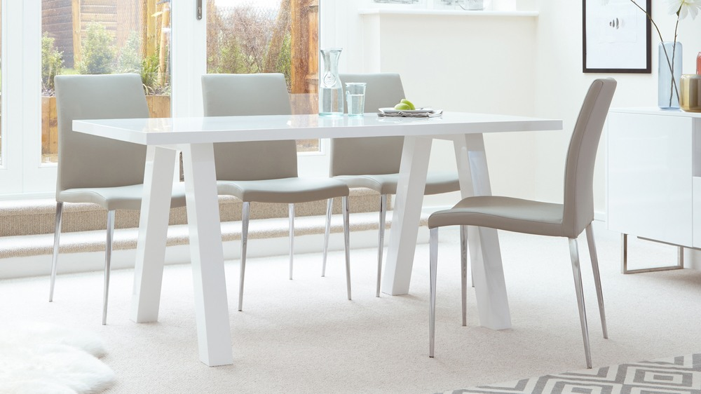 Modern zen 6 seater white gloss and oak dining table uk for 6 seater dining table