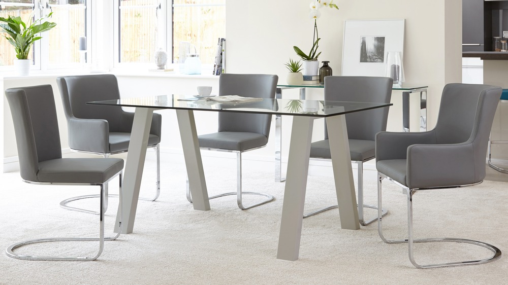 Zen 6 Seater Modern Table Glass Grey Gloss