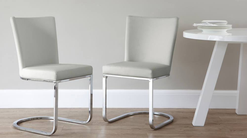 Cool grey faux leather dining chair