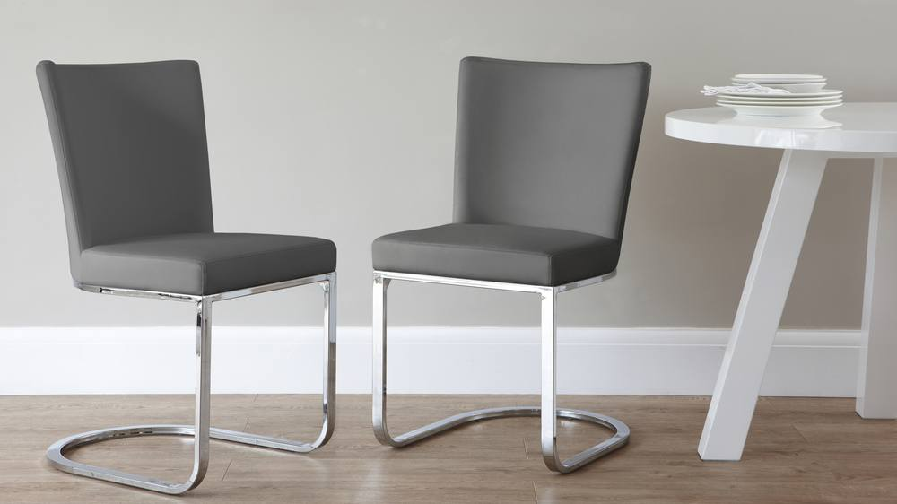 Dark grey faux leather dining chair