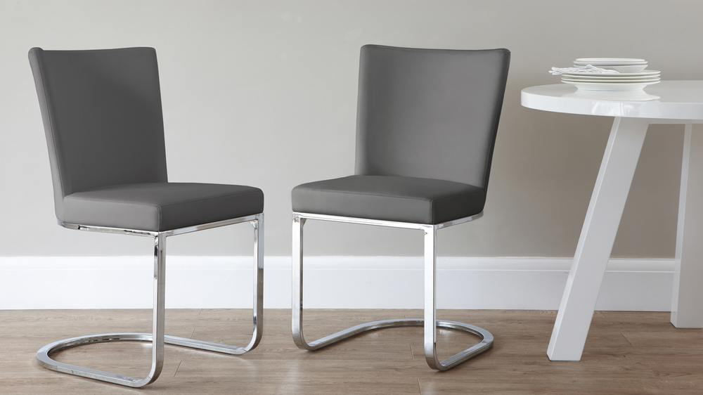 Graphite grey and chrome dining chair