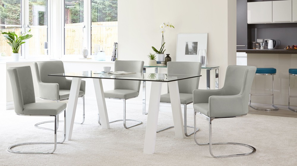 Buy white gloss and glass dining table
