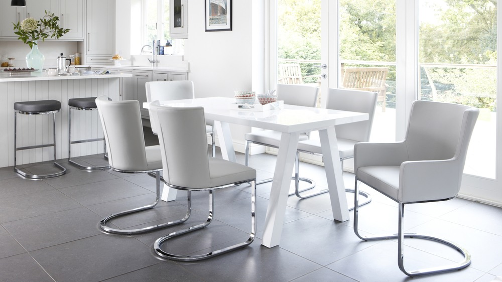 6 Seater White Gloss Dining Set