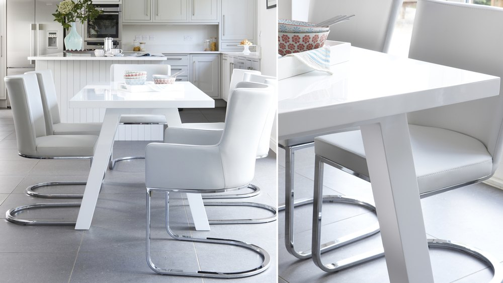 Zen And Form 6 Seater White Gloss Dining Table And Chairs