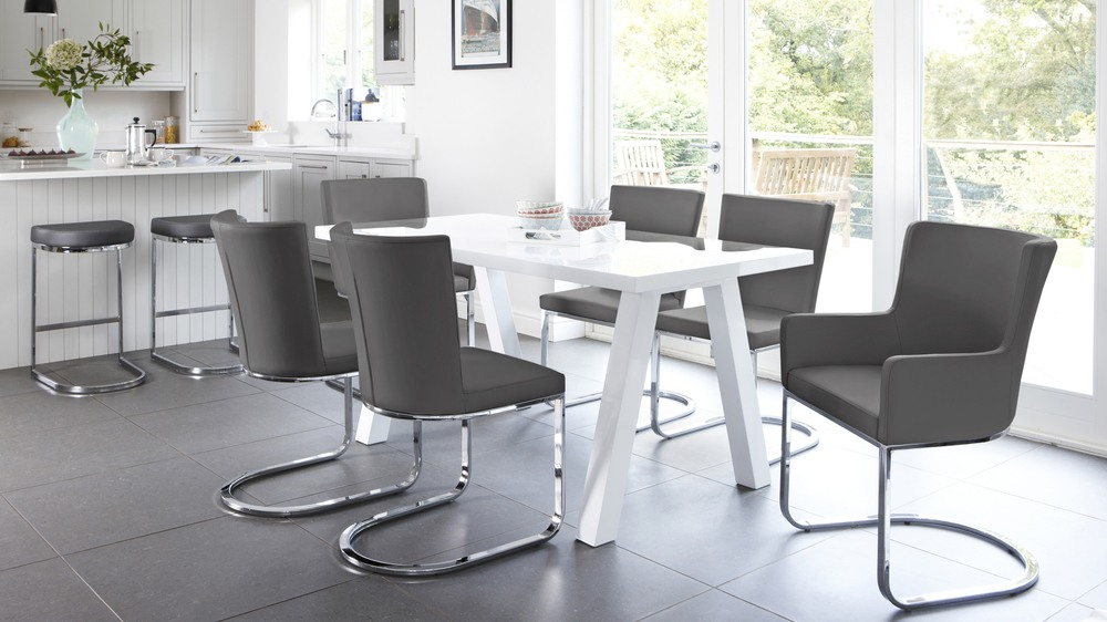 Dark Grey Dining Chairs and White Gloss Dining Table