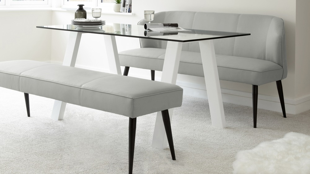 White Glass And Gloss Dining Table And Leather Bench Set