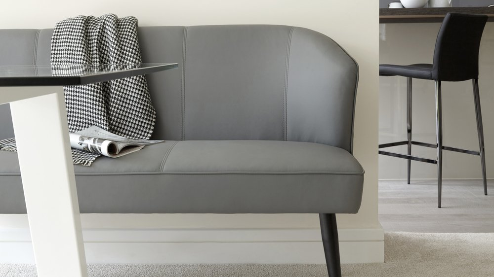 Modern Grey Leather Family Bench