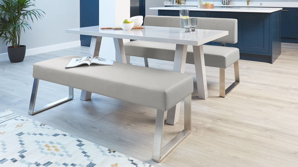 Contemporary light grey dining benches