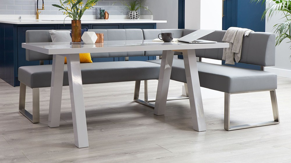 Grey gloss dining bench set