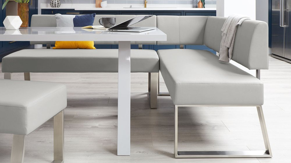 Light grey faux leather dining benches