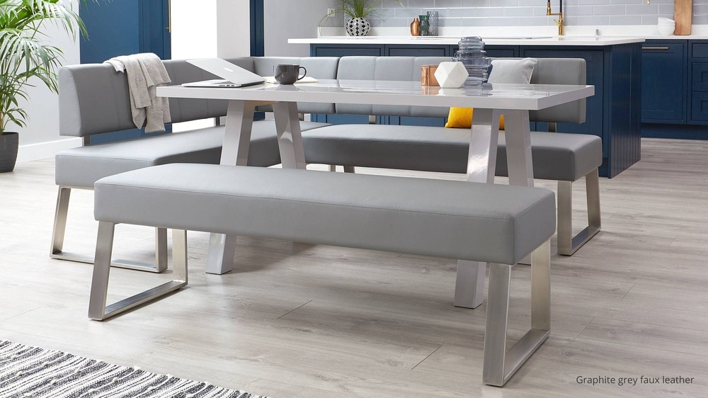 Modern grey gloss trestle table with benches