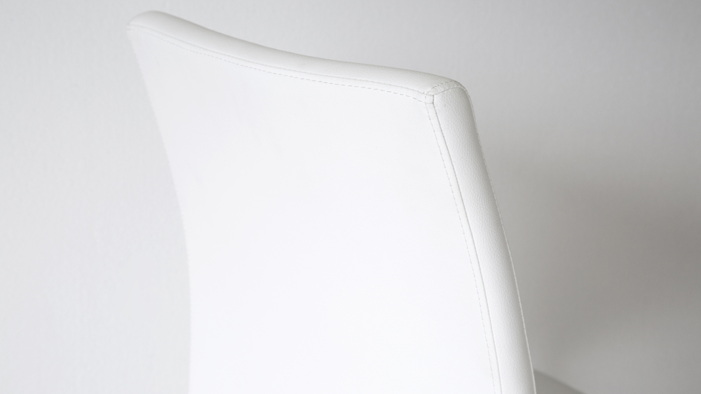 Modern Dining Chairs in White Faux Leather