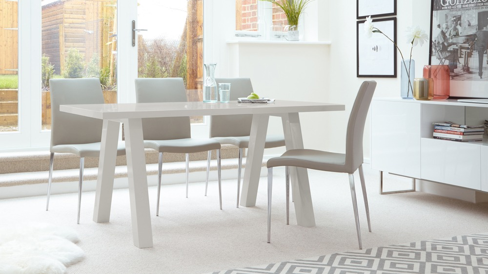 Light Grey Gloss Dining Table and Grey Dining Chairs