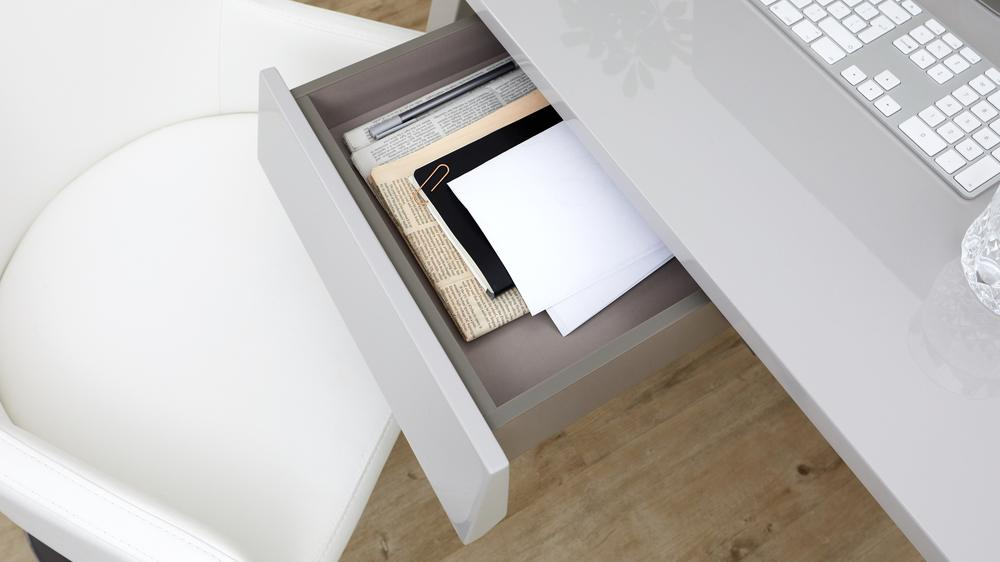 Grey gloss desk with storage