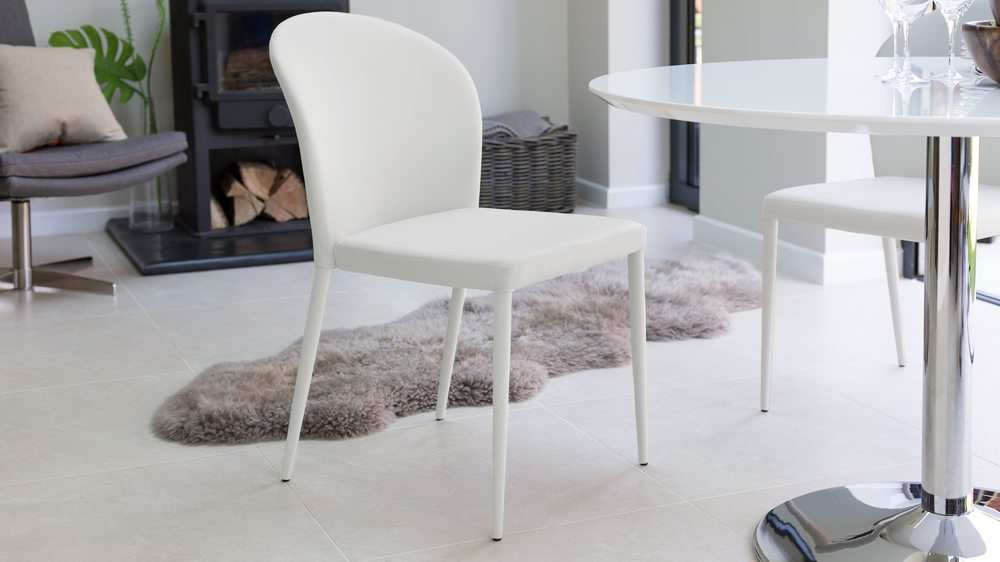 White Dining Chairs with Round Back
