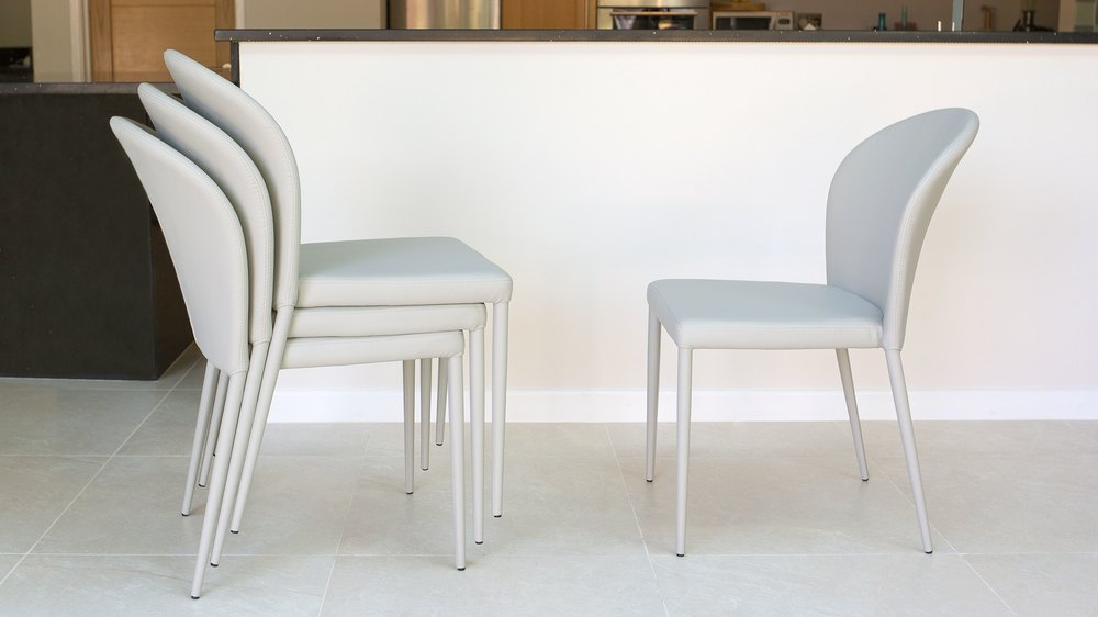 Easy Storing White Dining Chairs