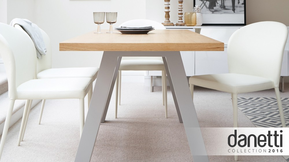 Zen Oak Table And Santo Stackable Dining Chairs Danetti