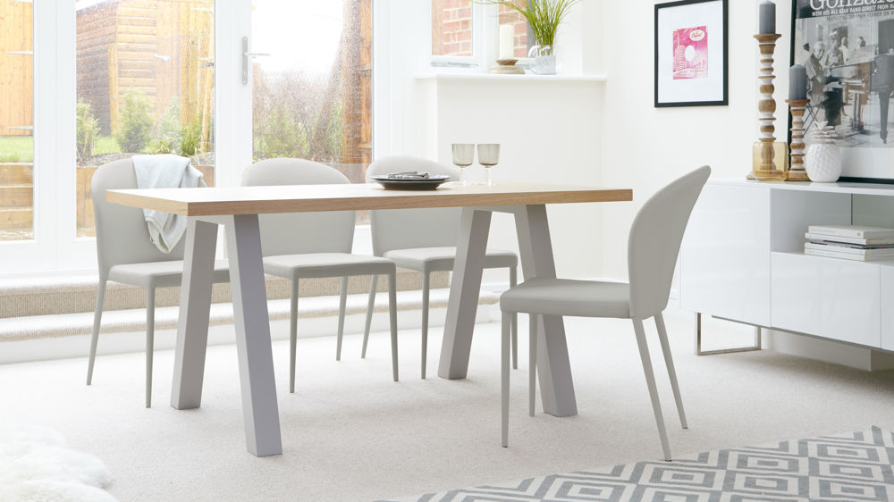 Oak Dining Table and Grey Dining Chairs