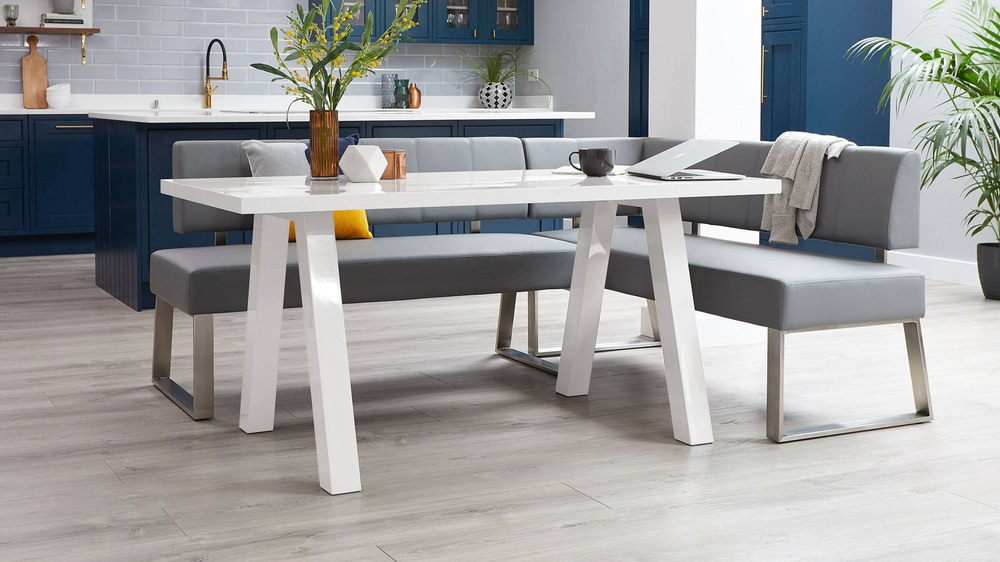 White gloss 6 seater dining table set