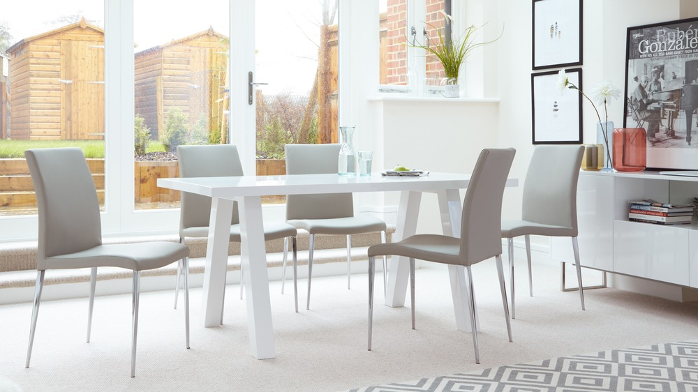 Great Family White Gloss Dining Set. Contemporary Grey Dining Chairs And White  Gloss Table Part 8