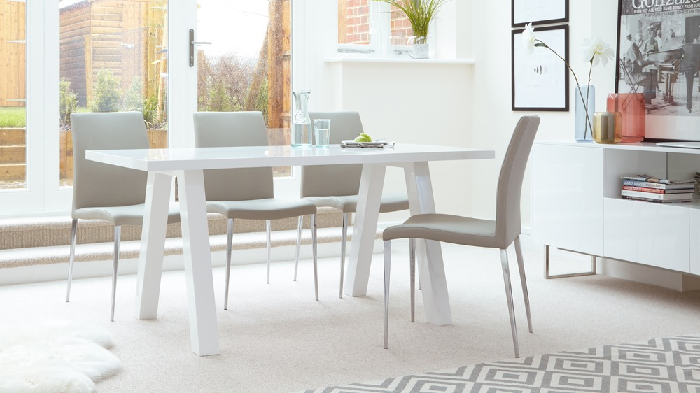 6 Seater Dining Set in White Gloss and Grey Faux Leather