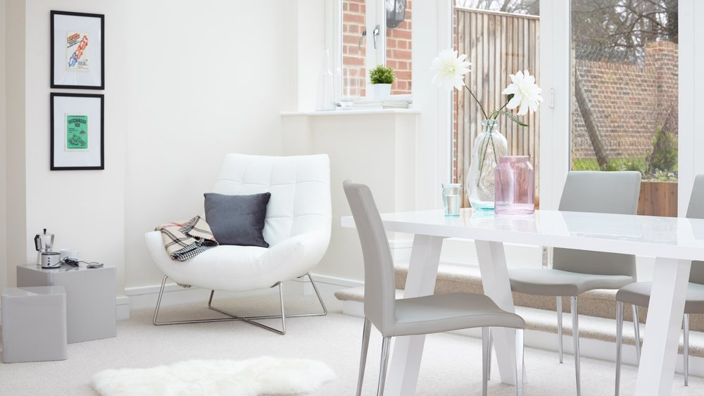 Contemporary Grey Dining Chairs and White Gloss Table